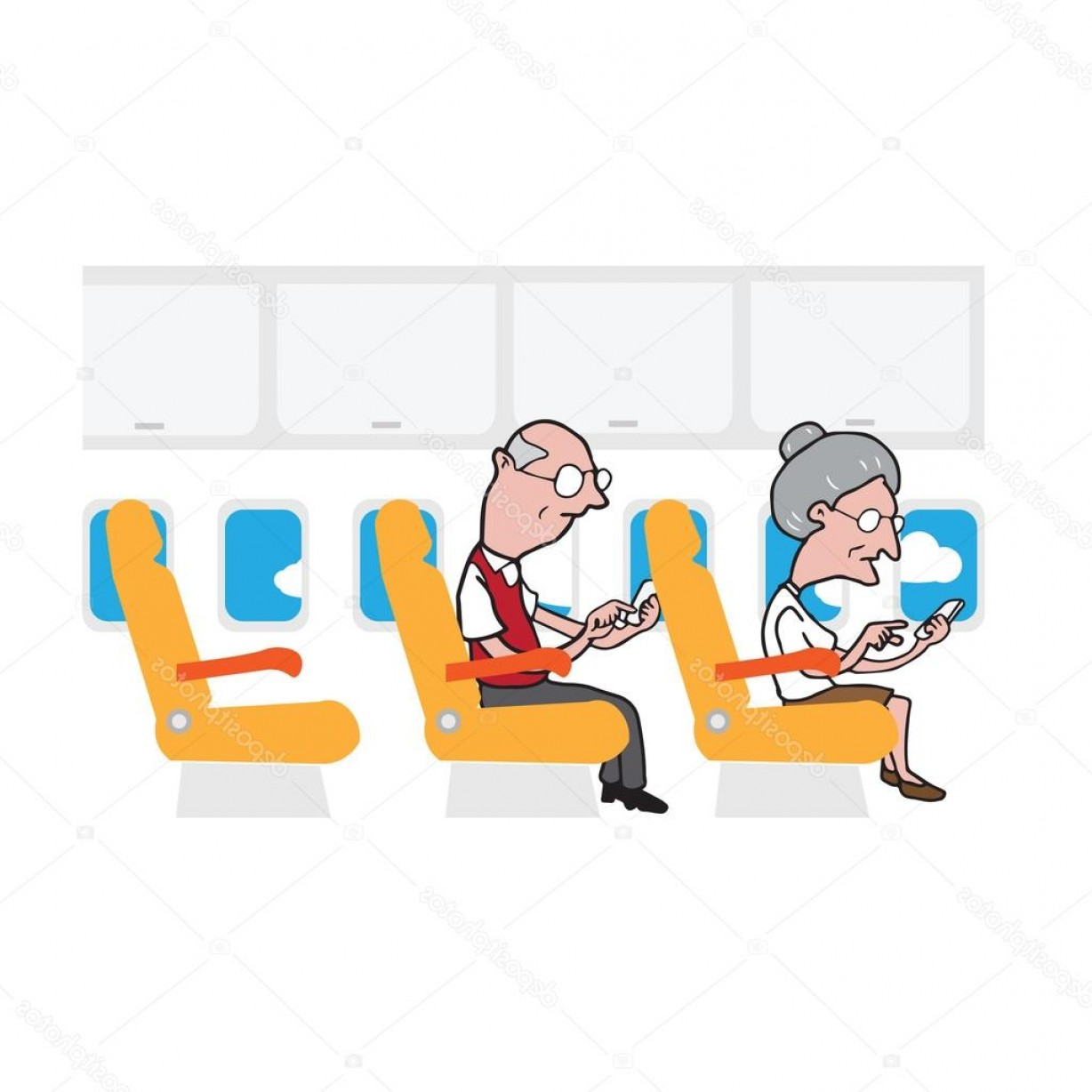Vector Man Working In Cabin: Stock Illustration Airplane Cabin Passengers Old Man