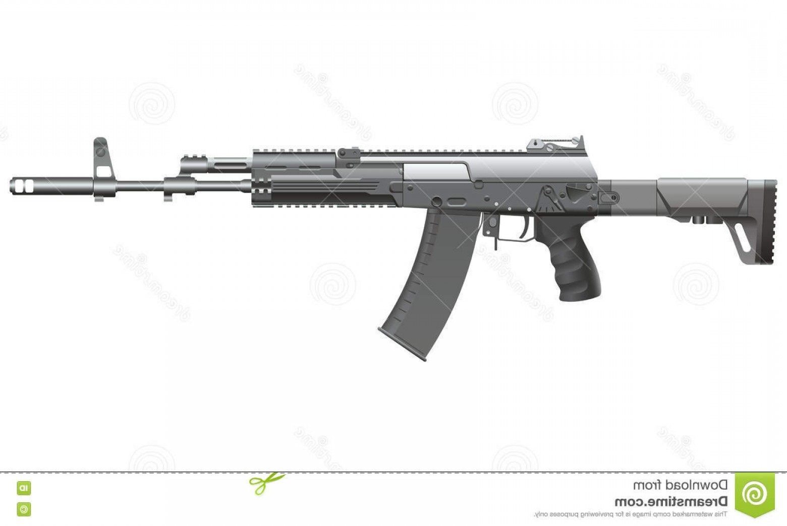 Nato Assault Rifles Vector Graphics: Stock Illustration Ak Automatic Rifle Realistic Vector Illustration Image