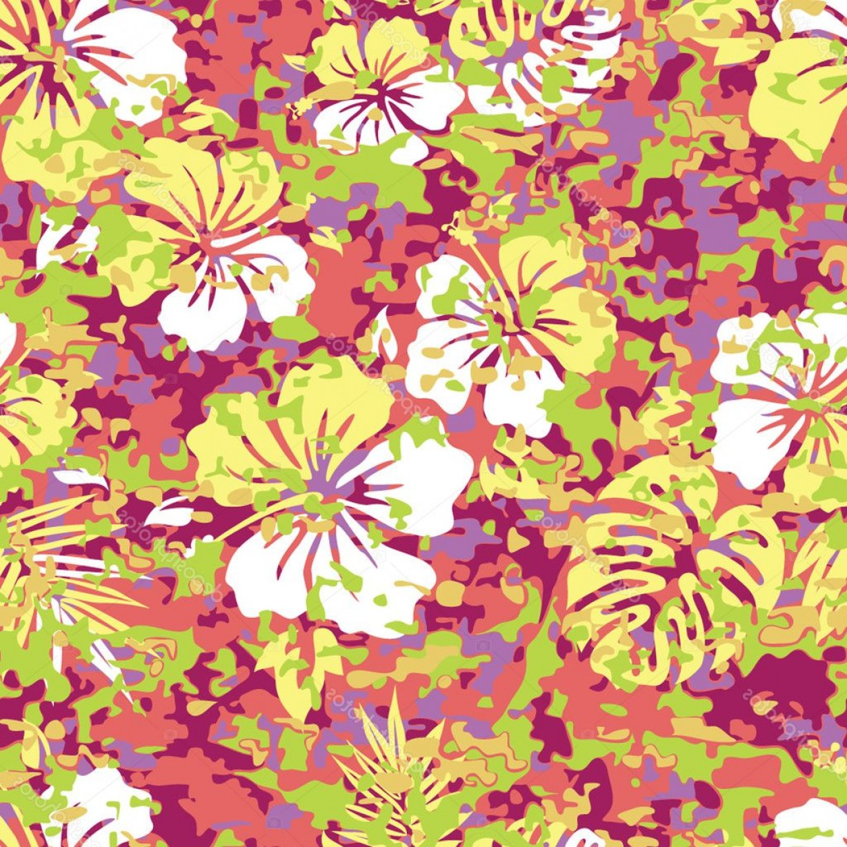 Hawaiian Pattern Vector: Stock Illustration Aloha Hawaiian Shirt Camouflage Pattern