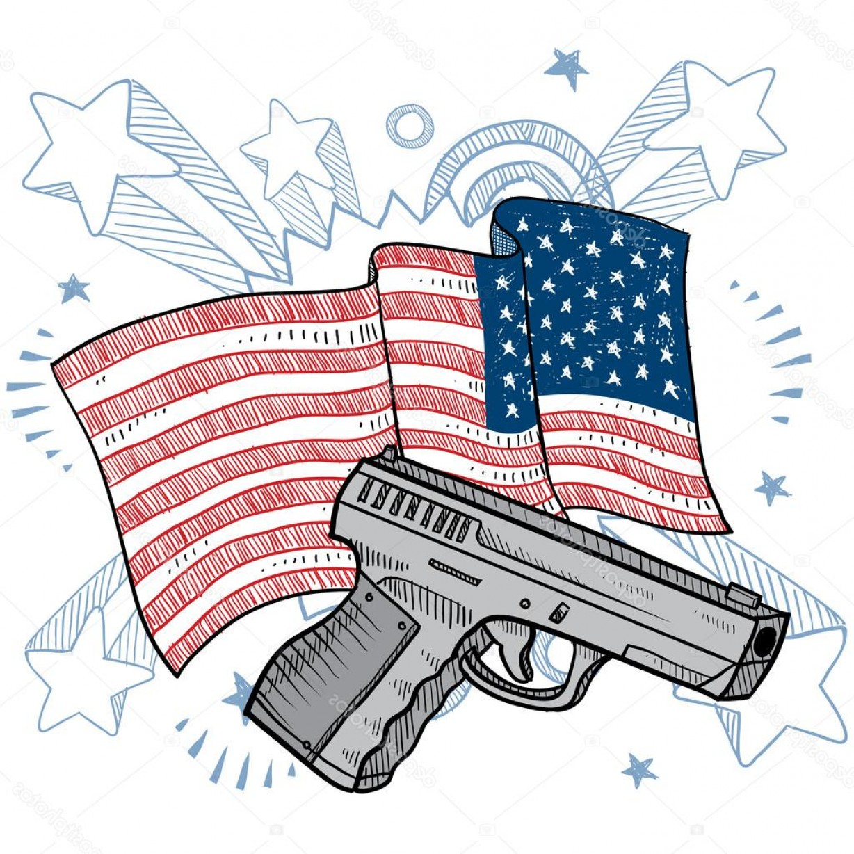 American Gun Vector: Stock Illustration America Loves Guns Vector Sketch