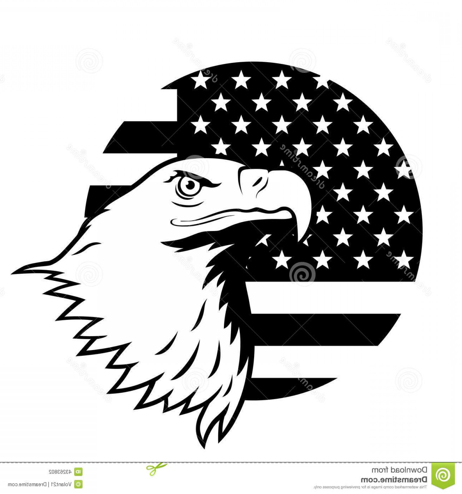 Patriotic Bald Eagle Vector: Stock Illustration American Eagle Against Usa Flag Stylized Illustration Bald Head Background Image