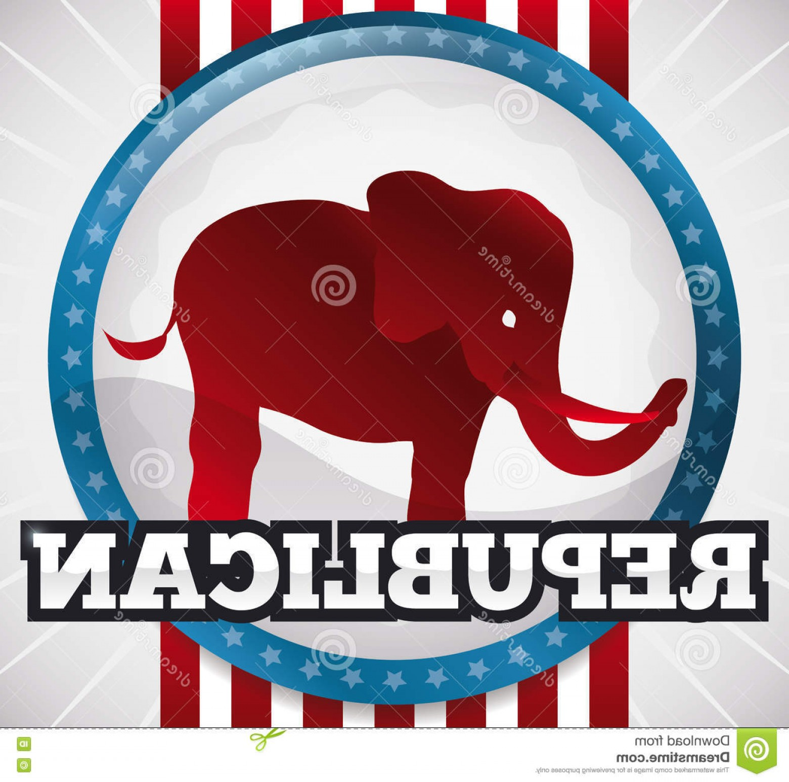 Republican Elephant Vector: Stock Illustration American Round Button Design Republican Elephant Vector Illustration Glossy Red Inside Supporting Vote Next Image