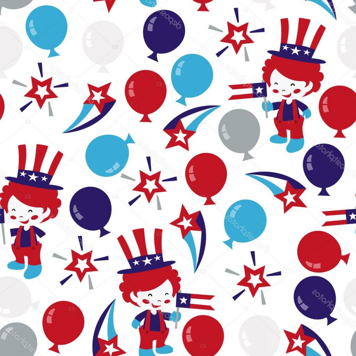 Americana Vector Art: Stock Illustration Americana Patriotic Seamless Pattern Background