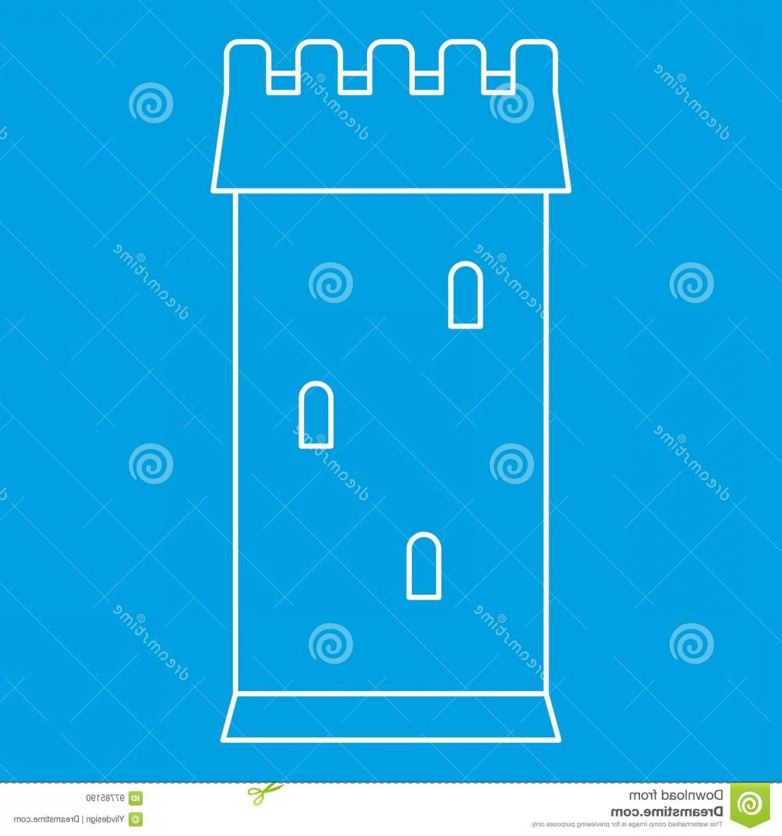Vector Ancient Battle: Stock Illustration Ancient Battle Tower Icon Outline Style Blue Isolated Vector Illustration Thin Line Sign Image