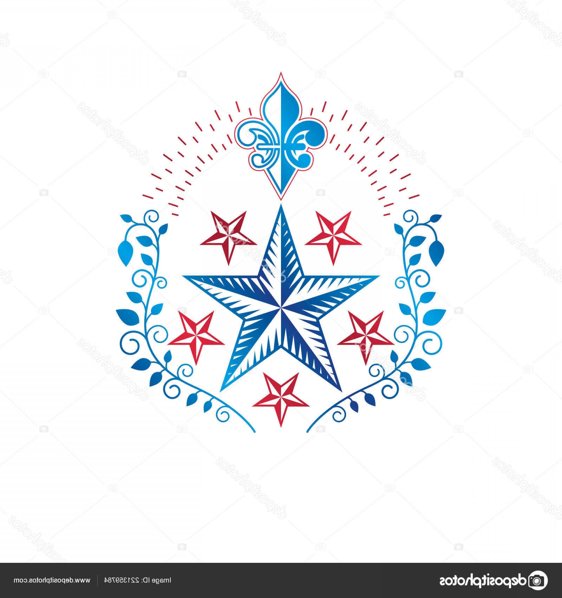 Heraldic Vector Ornaments: Stock Illustration Ancient Star Emblem Decorated Lily