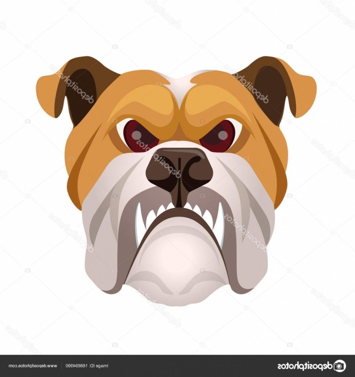 Vector Smiling Bulldog: Stock Illustration Angry Bulldog Face Colored In