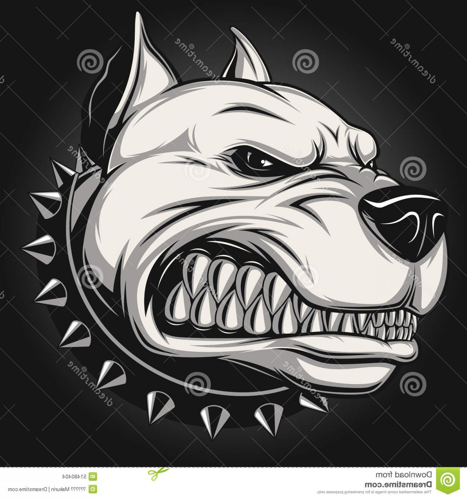Dog Mascot Vector: Stock Illustration Angry Dog Vector Illustration Pitbull Mascot Head White Background Image
