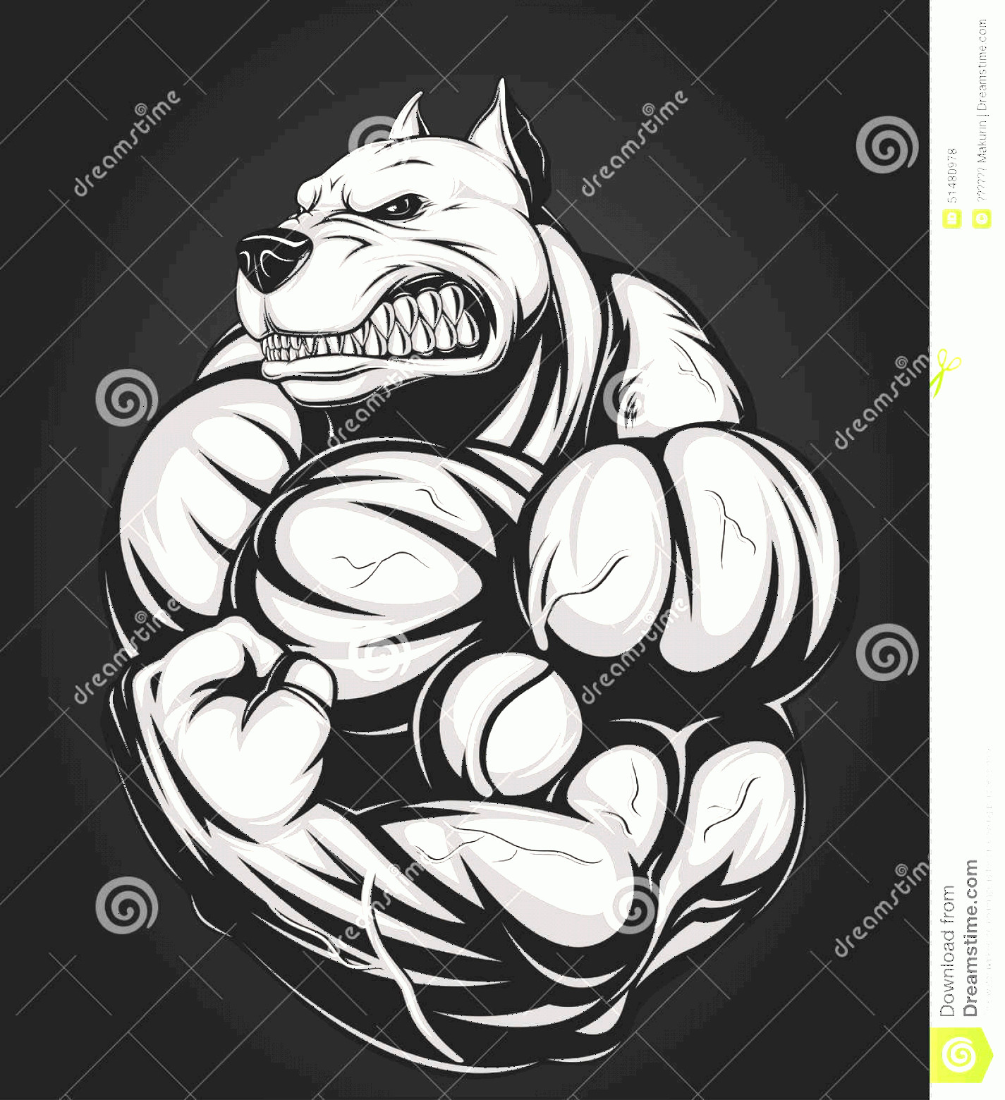 Angry Dog Vector Black And White: Stock Illustration Angry Dog Vector Illustration Strong Pitbull Big Biceps Image