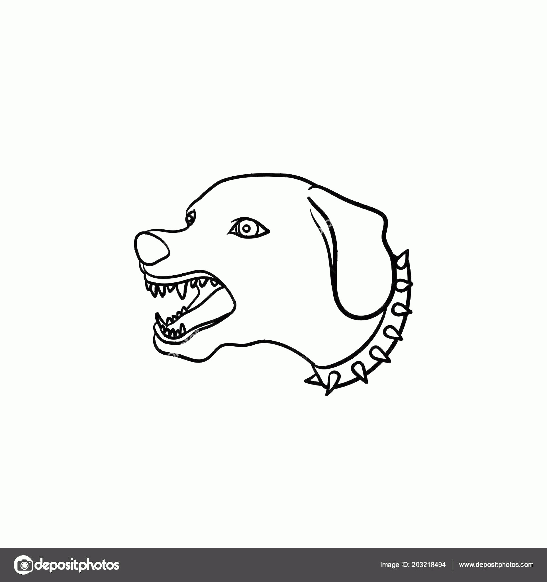 Angry Dog Vector Black And White: Stock Illustration Angry Dog With Teeth Hand