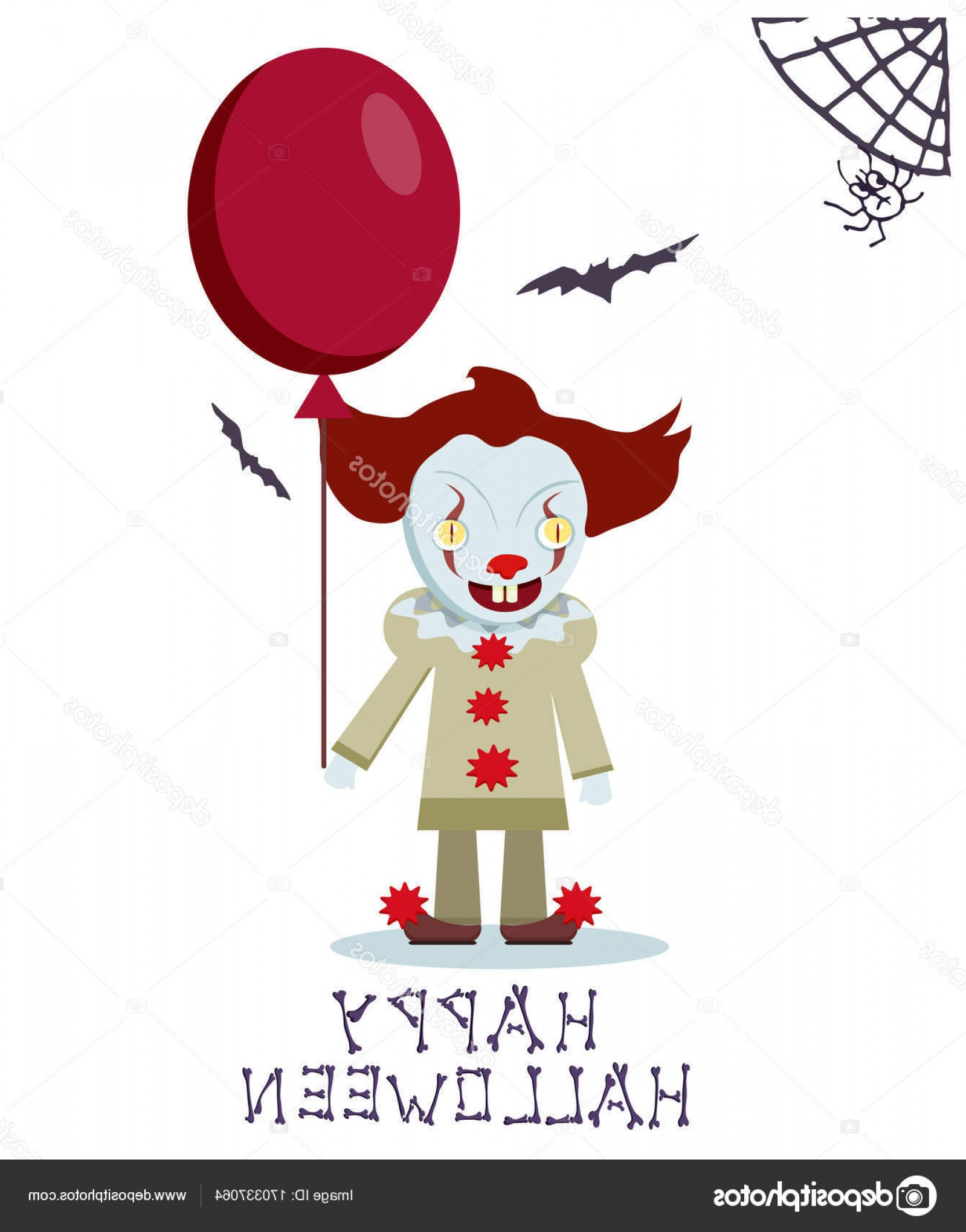 Pennywise Clown Vector: Stock Illustration Angry Evil Clown With Red