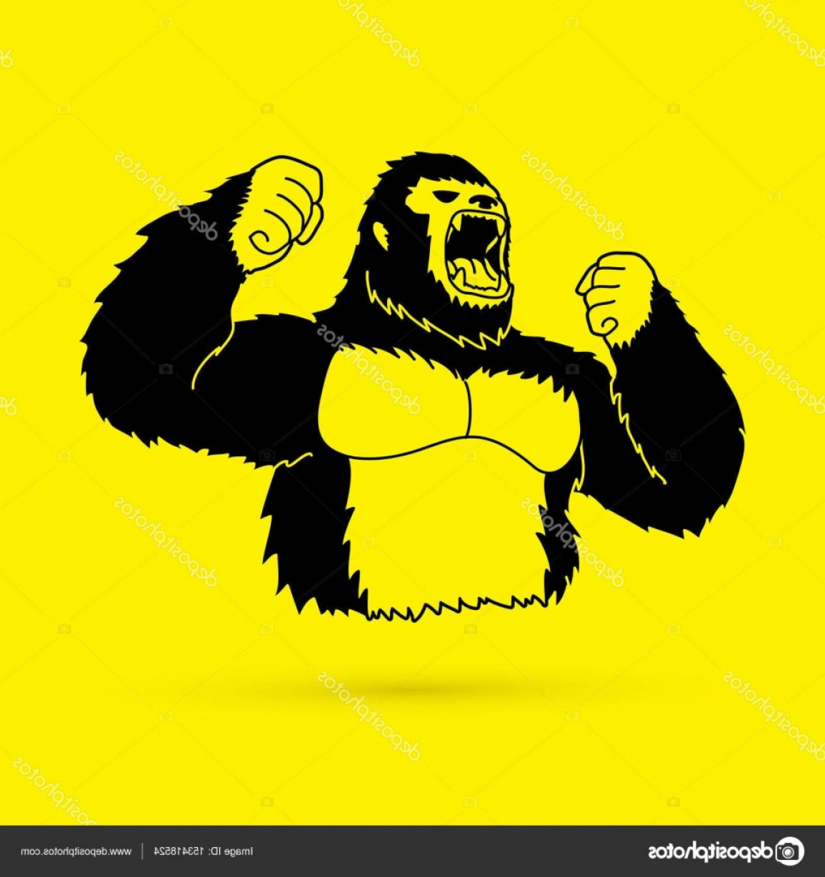 Drawings Of King Kong Vector: Stock Illustration Angry King Kong Big Gorilla