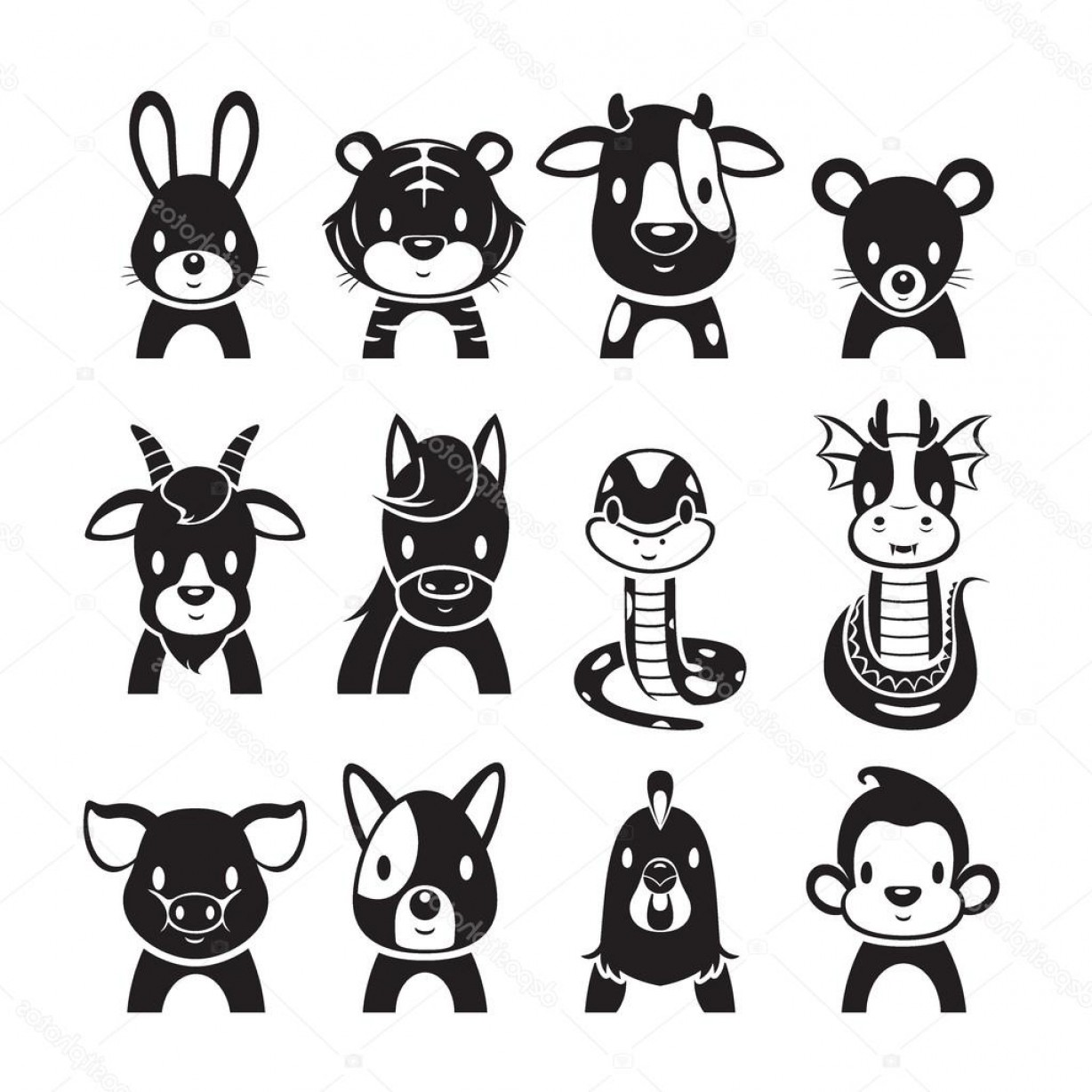 Chinese Zodiac Signs Vector: Stock Illustration Animals Chinese Zodiac Signs