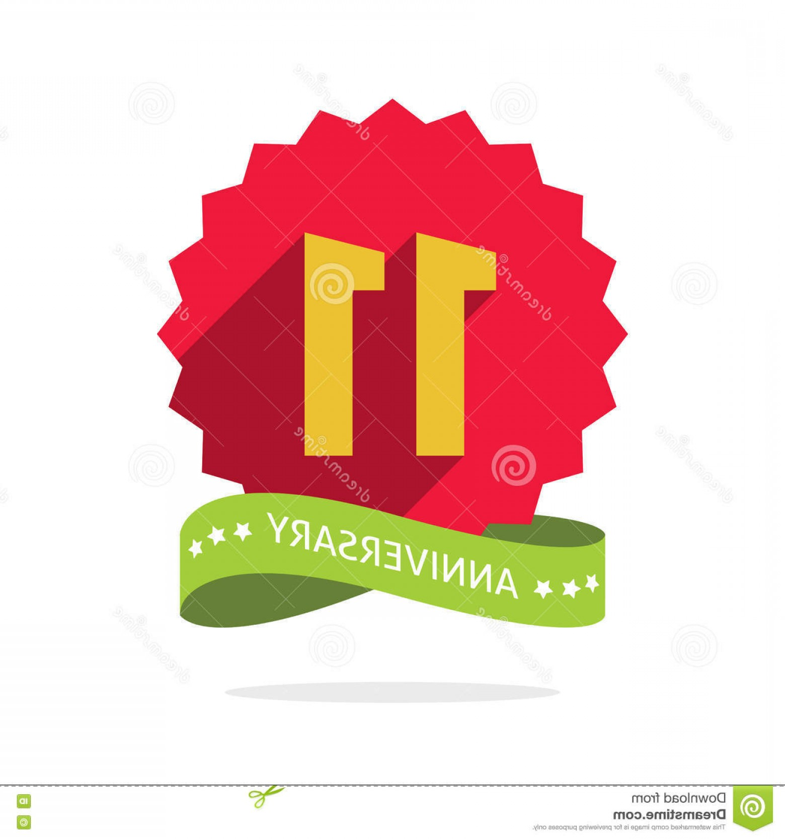 Happy Workplace Anniversary Vector: Stock Illustration Anniversary Th Badge Shadow Red Starburst Yellow Number Eleven Years Icon Eleventh Years Symbol Ribbon Image