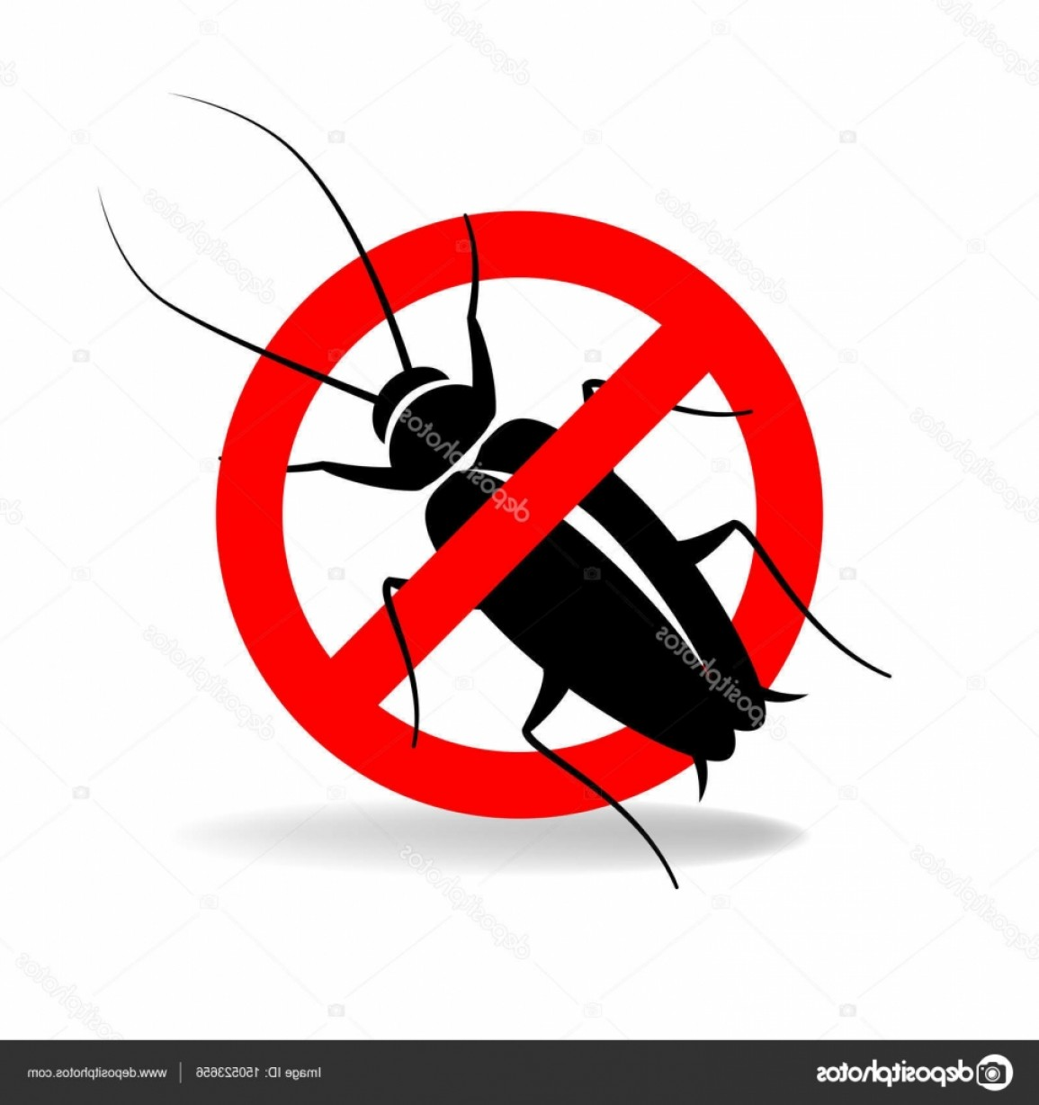 Vector Ban Plus Insecticide: Stock Illustration Anti Cockroach Vector Sign For