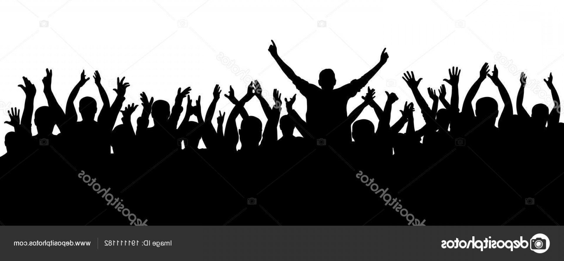 Vector Sports Crowd Cheering: Stock Illustration Applause Cheerful Crowd People Silhouette