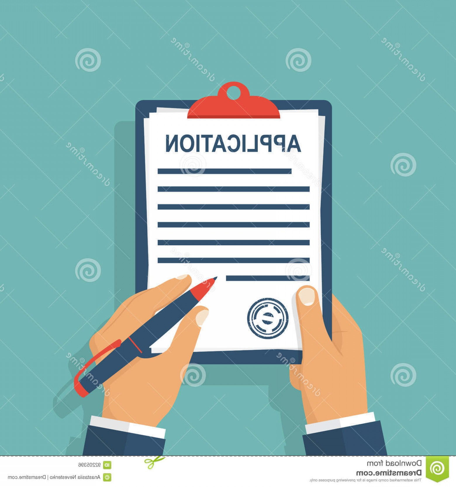 Vector Application Form: Stock Illustration Application Form Write Man Clipboard His Hand Fills Employment Documents Vector Illustration Flat Design Image
