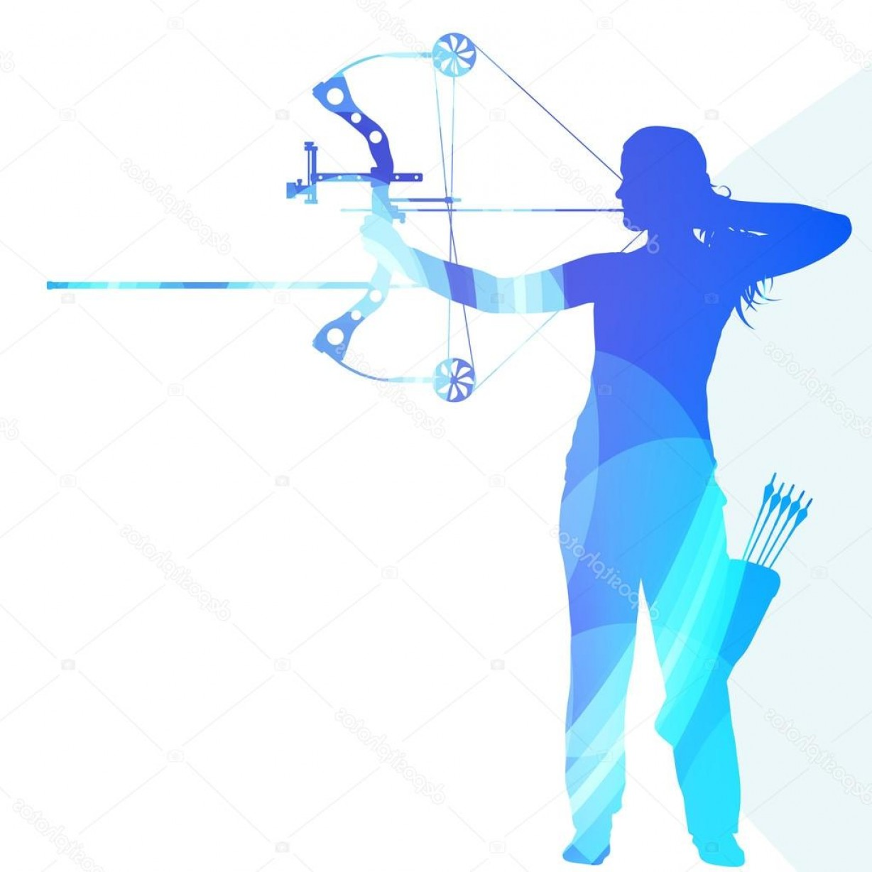 Vector Archery Silhouette: Stock Illustration Archer Training Bow Man Silhouette