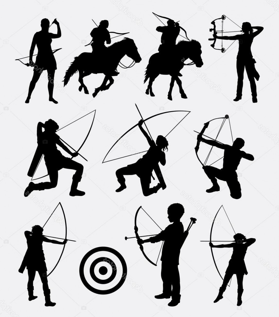 Vector Archery Silhouette: Stock Illustration Archery Dart People Sport Silhouette