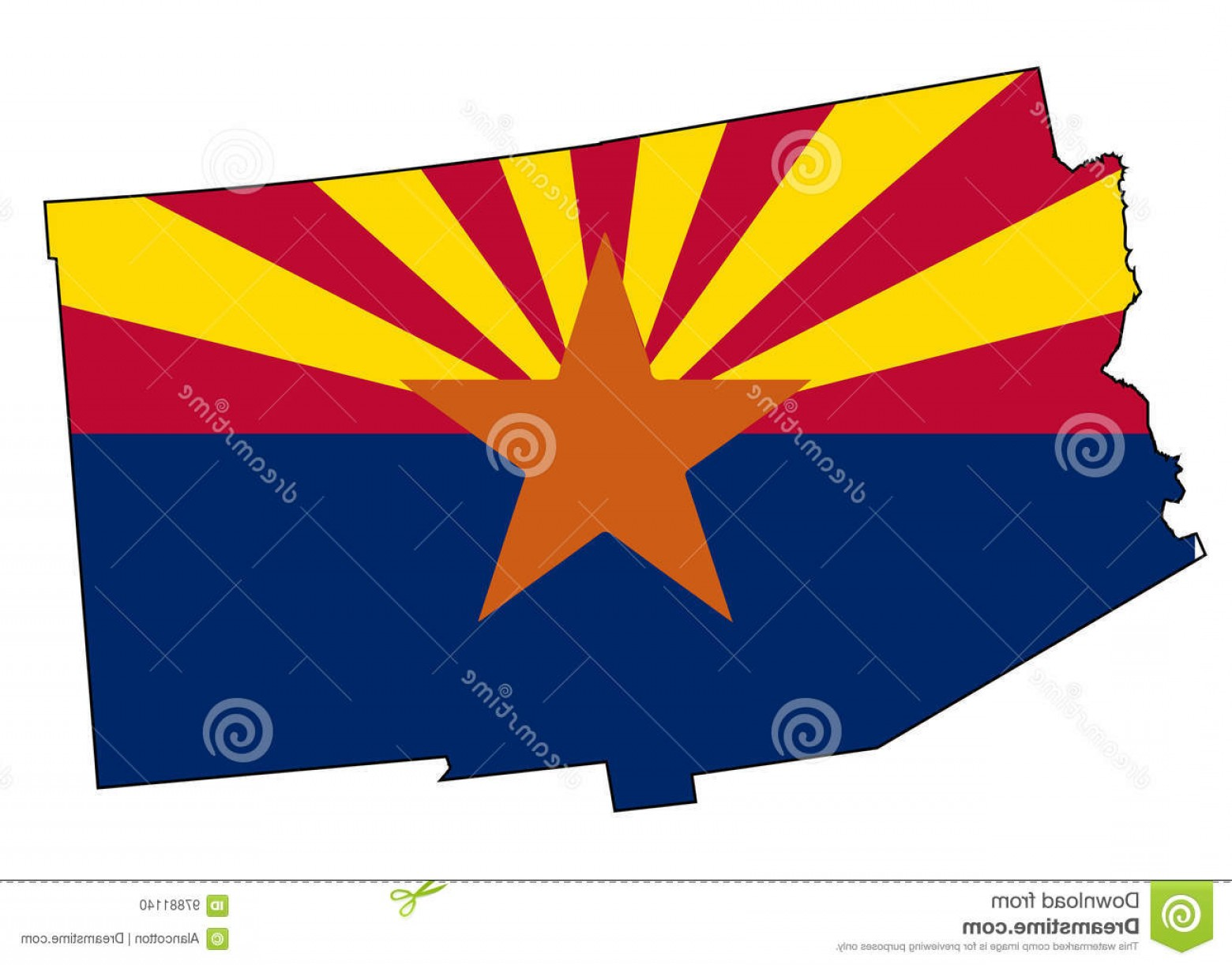 Arizona State Outline Vector: Stock Illustration Arizona State Outline Map Flag White Background Inset Image