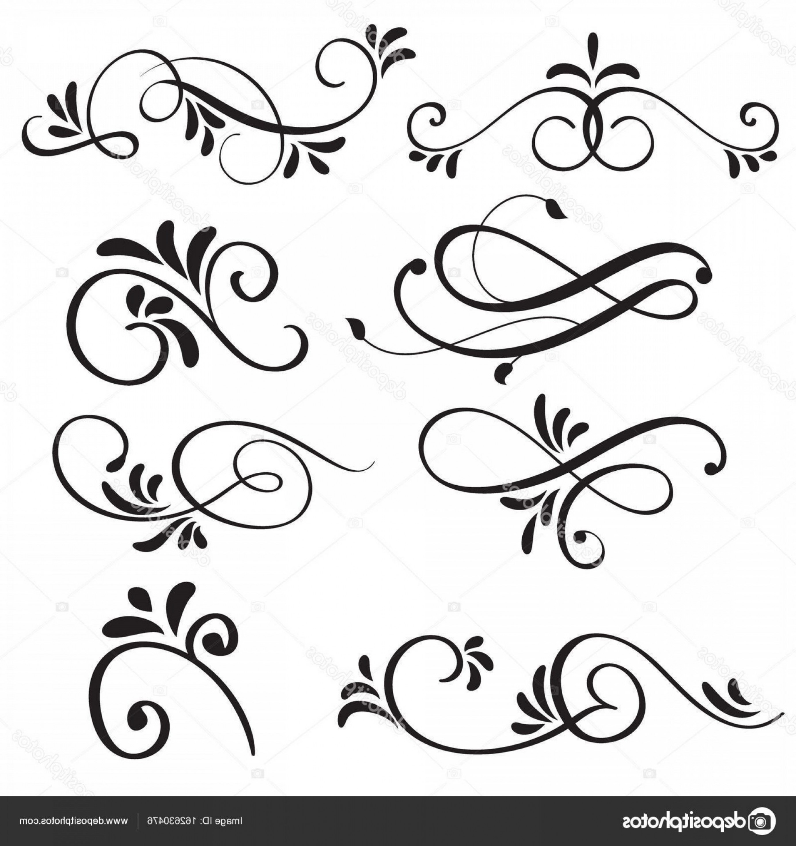 Florid Vector Simple: Stock Illustration Art Calligraphy Flourish Of Vintage