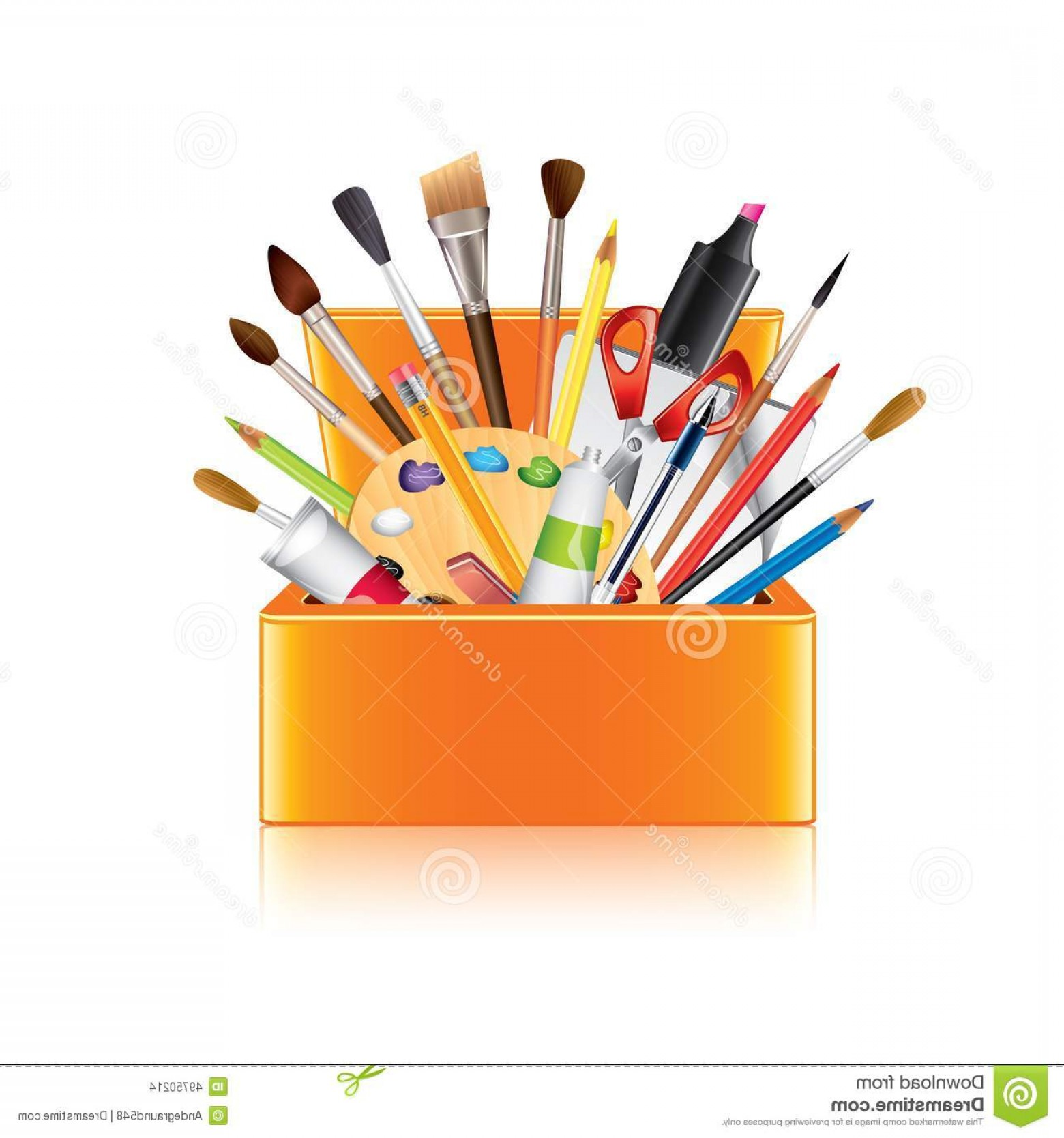 Supplies Vector Graphic: Stock Illustration Art Supplies Box White Vector Photo Realistic Illustration Image