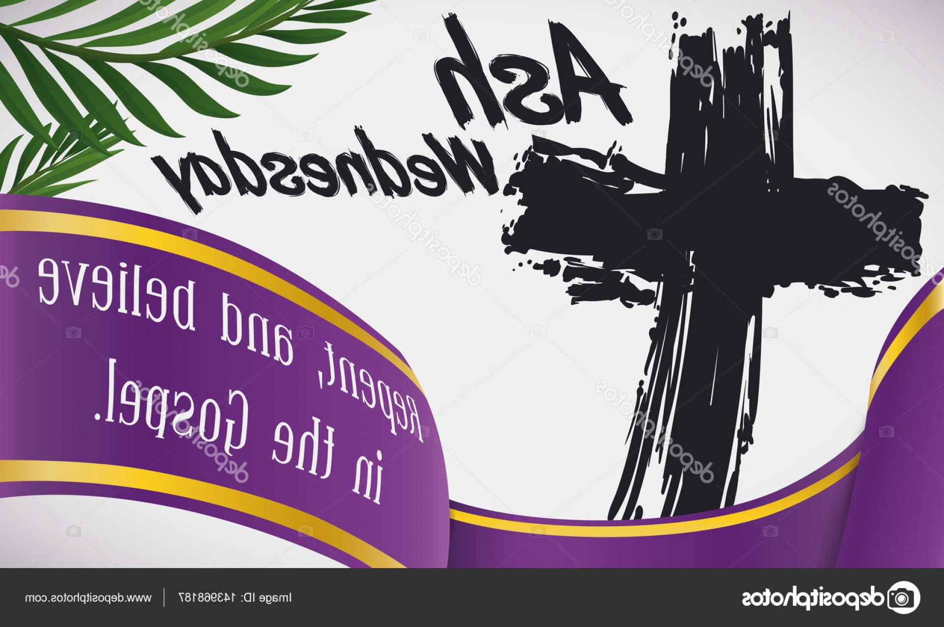 Cross And Ribbon Vector: Stock Illustration Ash Wednesday Design With Traditional