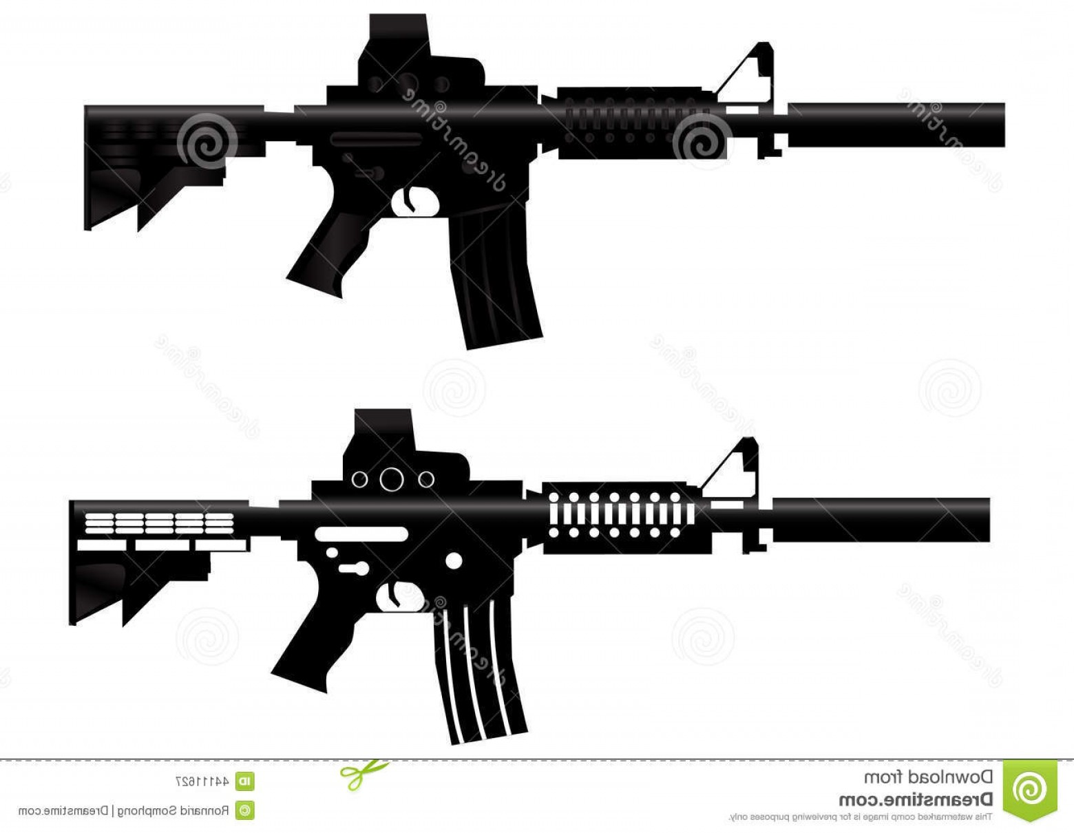 M4 Gun Vector: Stock Illustration Assault Rifle Gun Vector Army Carbine Isolated White Background Image