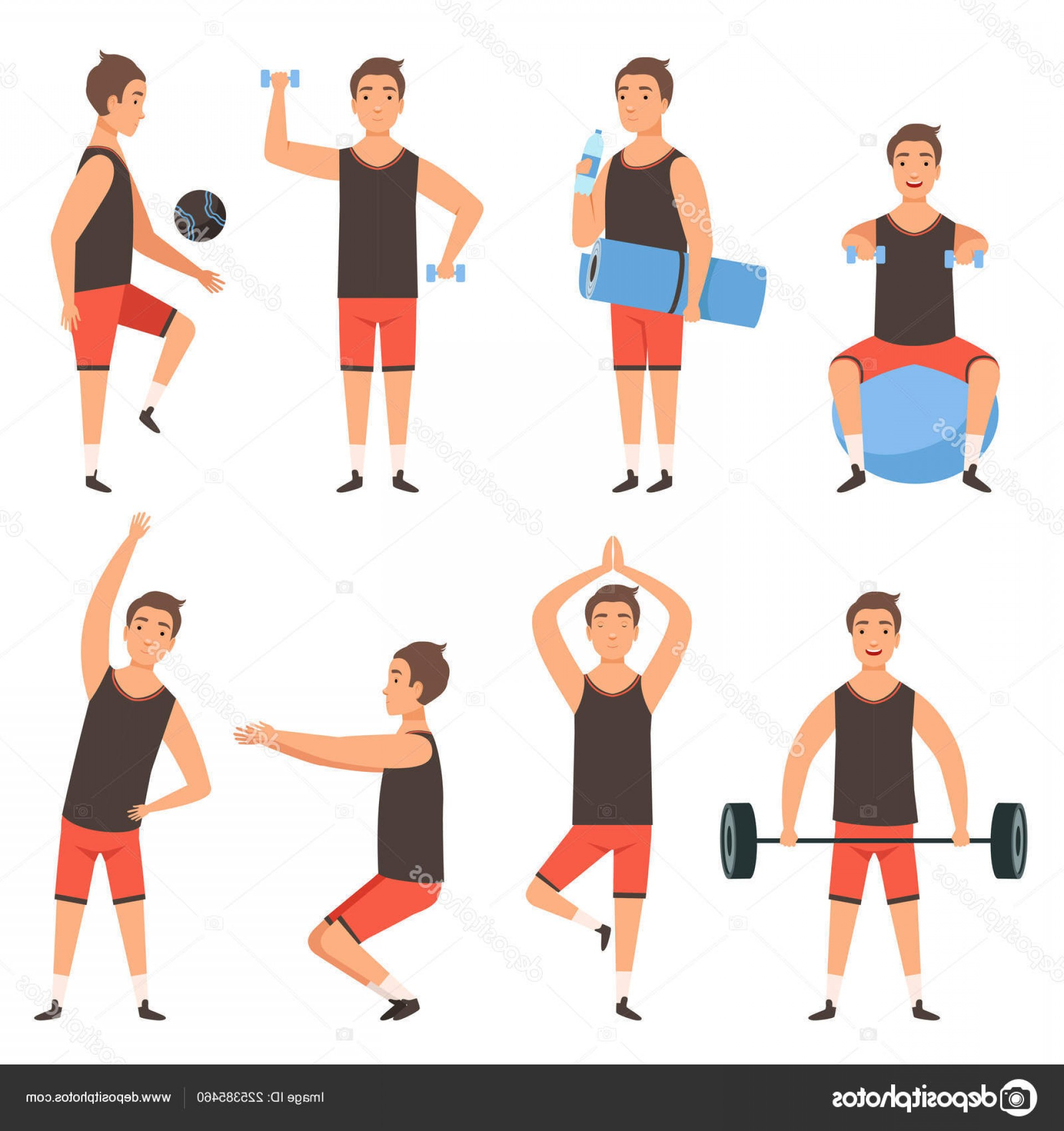 Man Vector Exercise: Stock Illustration Athletic Sport Man Gym Male