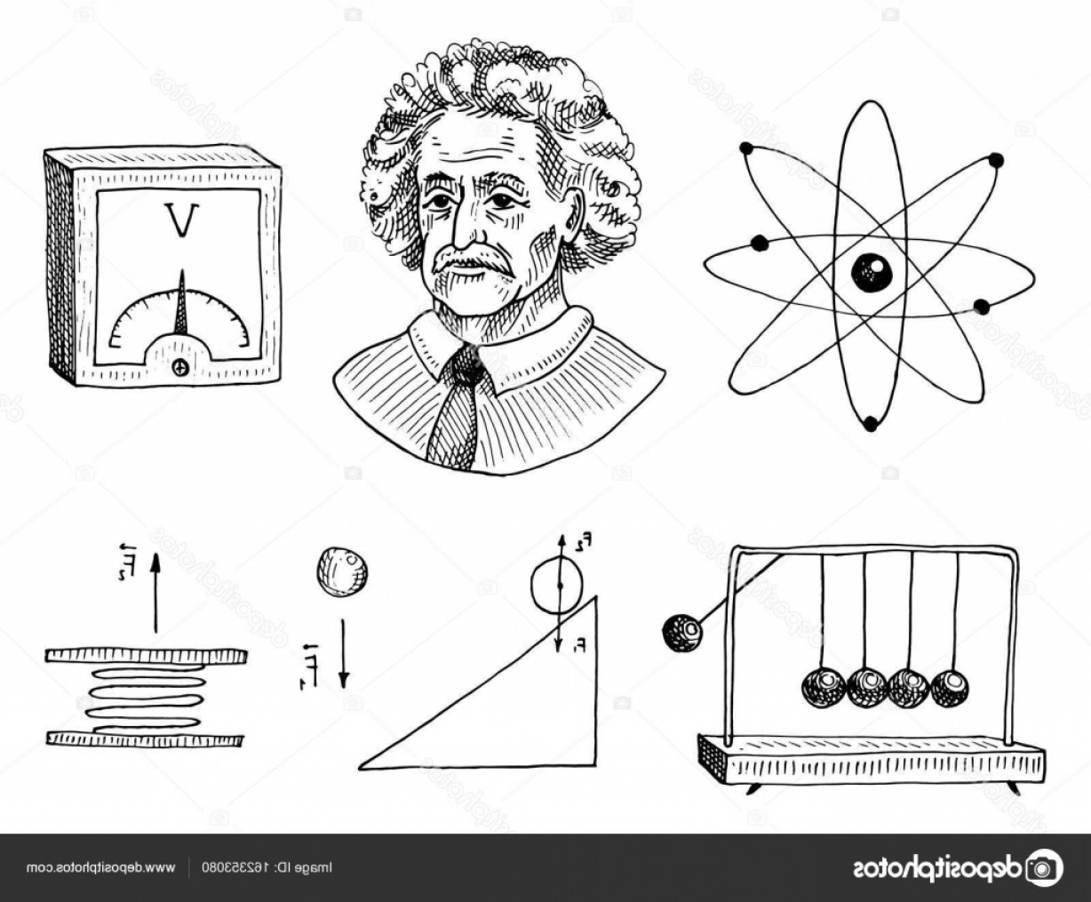 Graphing Vectors Physics: Stock Illustration Atom And Voltmeter With Perpetual