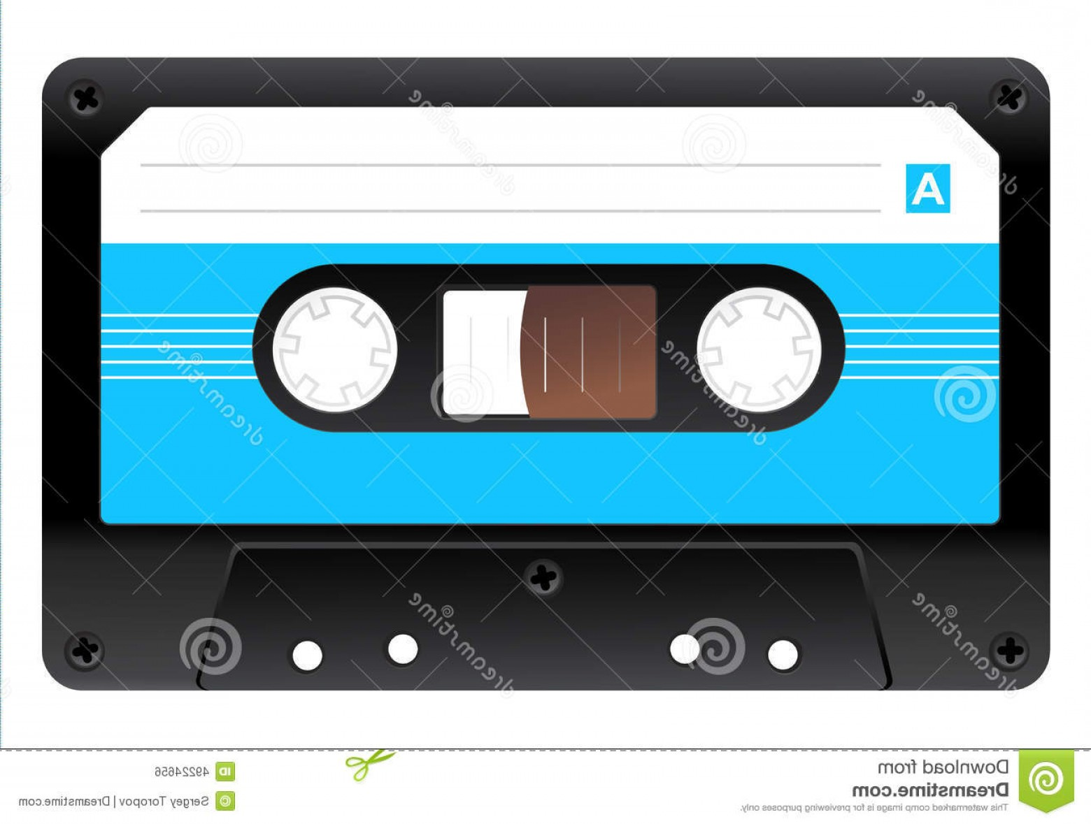 Audio Cassette Vector: Stock Illustration Audio Cassette Icon Black Realistic Vector Illustration Image