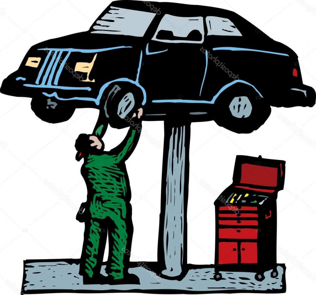 Mechanic Working Vector: Stock Illustration Auto Mechanic Working On Car