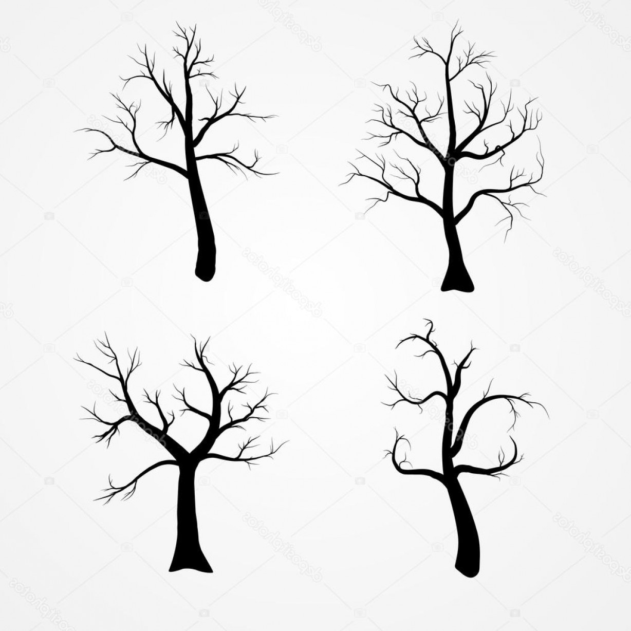 Winter Tree Silhouette Vector: Stock Illustration Autumn Or Winter Tree Silhouette