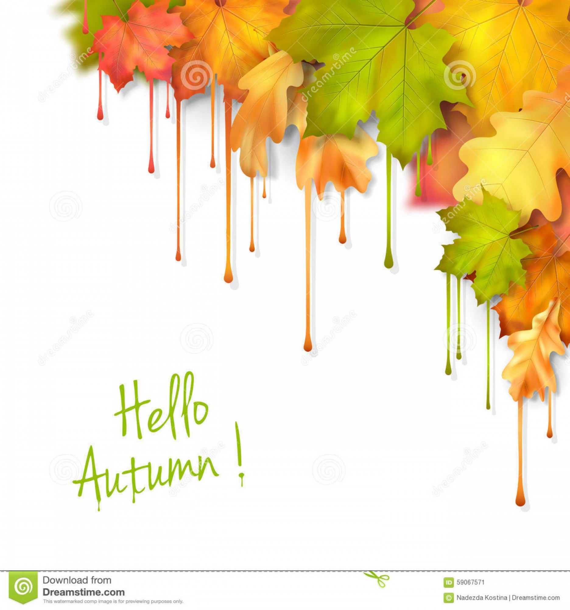 Dripping Paint Vector Illustration: Stock Illustration Autumn Vector Dripping Paint Leaves Fall Artistic Corner Design White Background Image