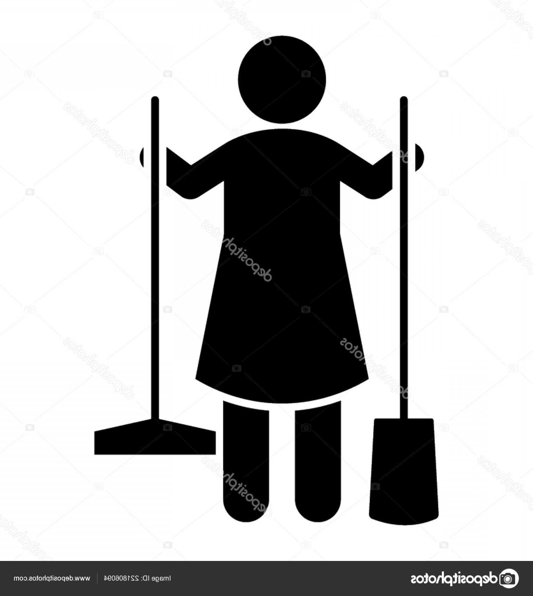 Cleaning Vector Janitorail: Stock Illustration Avatar Standing Holding Cleaning Tools