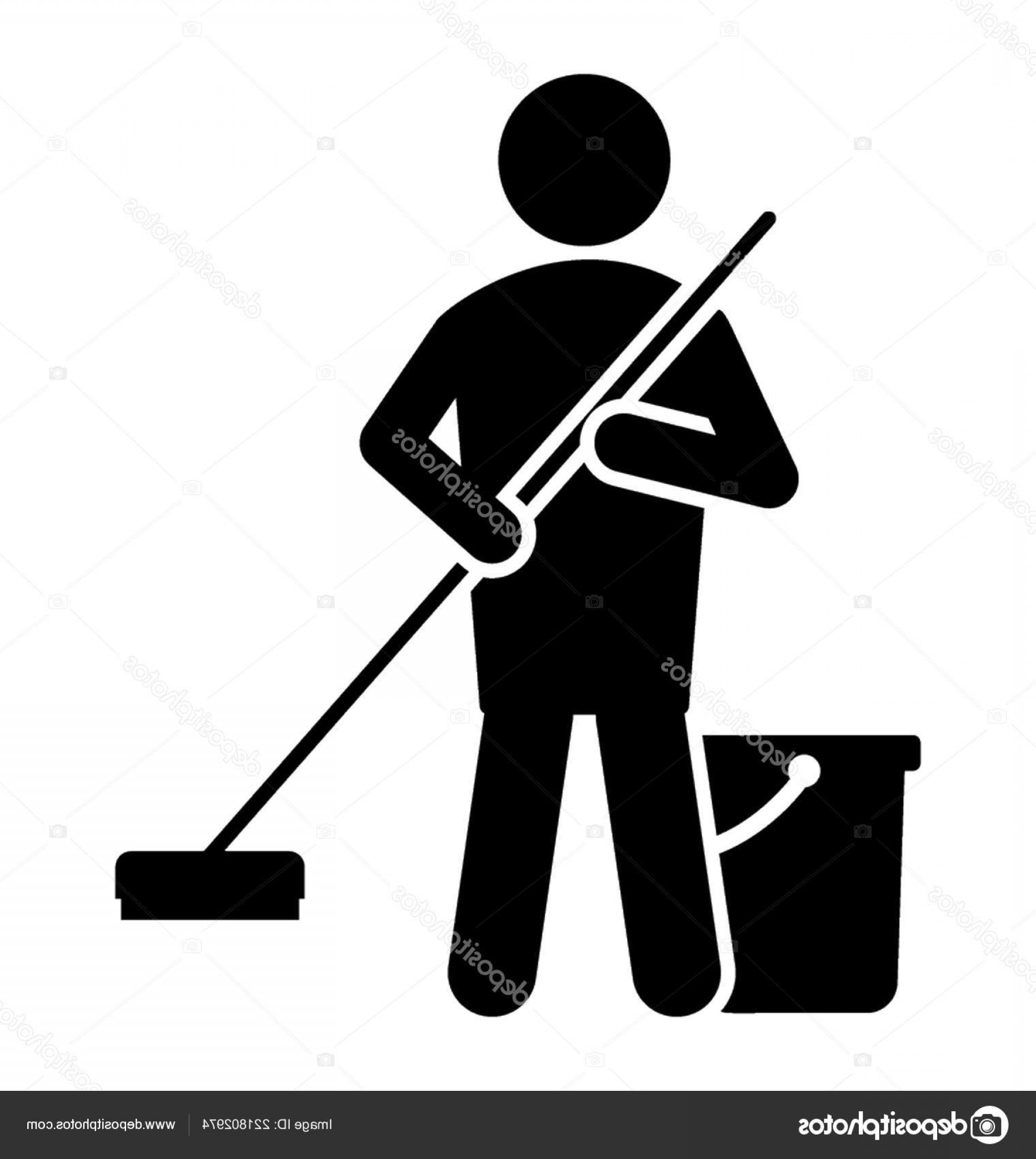 Janitorial Vector: Stock Illustration Avatar Standing Holding Floor Wiper