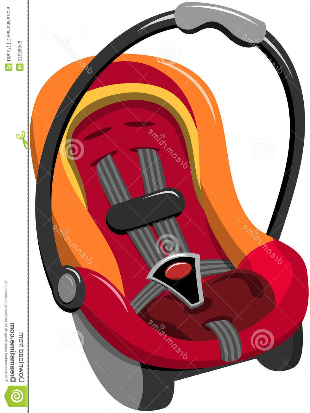 Vector Baby Seat: Stock Illustration Baby Car Seat Isolated Five Point Safety Harness Carrying Handle White Image