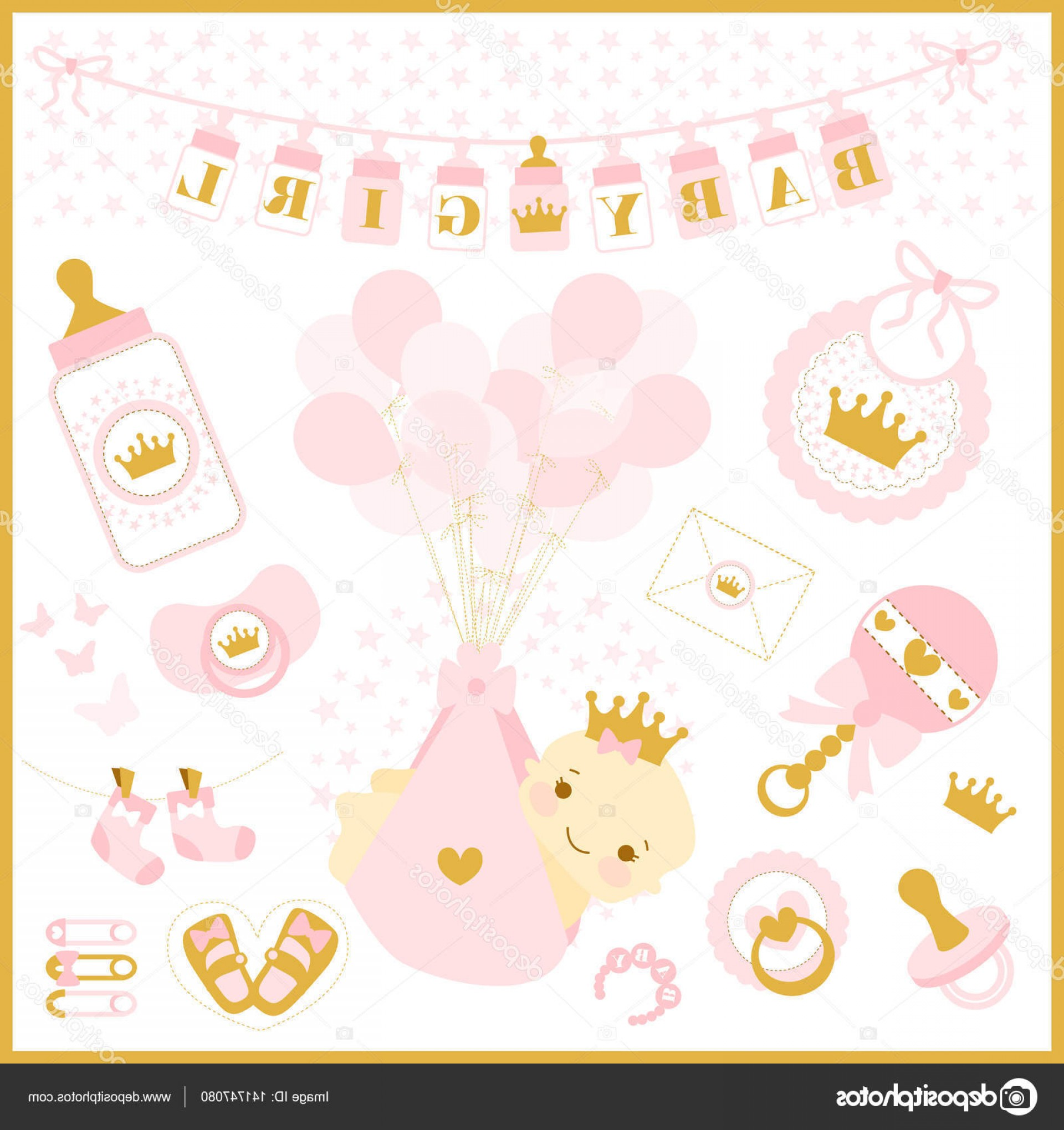 Cute Design Elements Vector Set: Stock Illustration Baby Girl Shower Vector Set