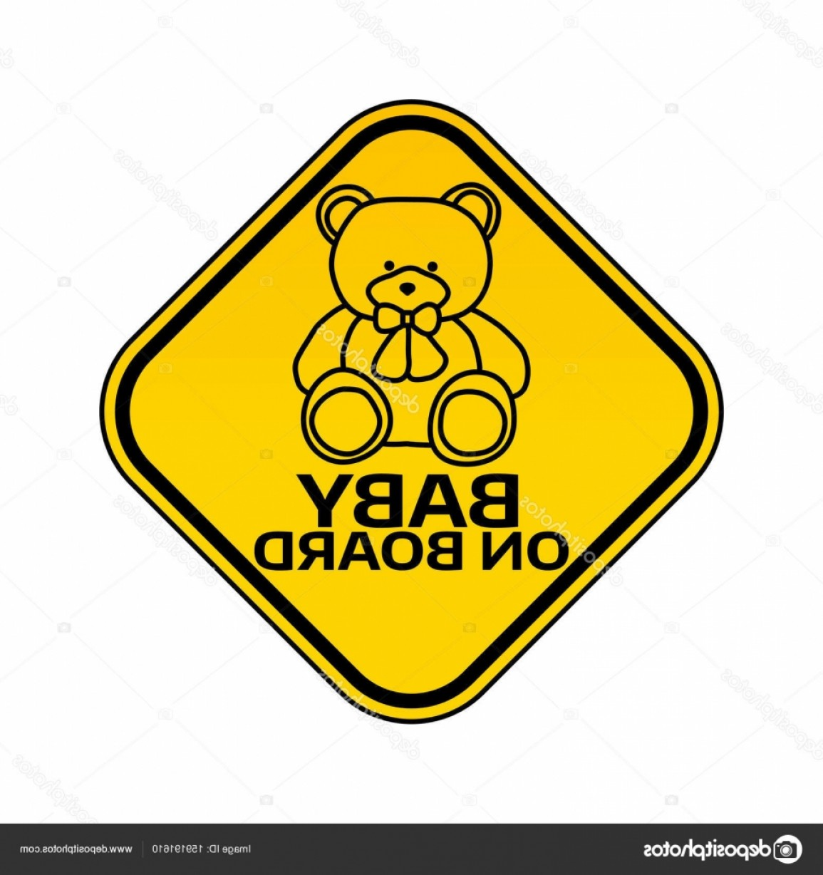 Road Sign Silhouette Vector Bear: Stock Illustration Baby On Board Sign With