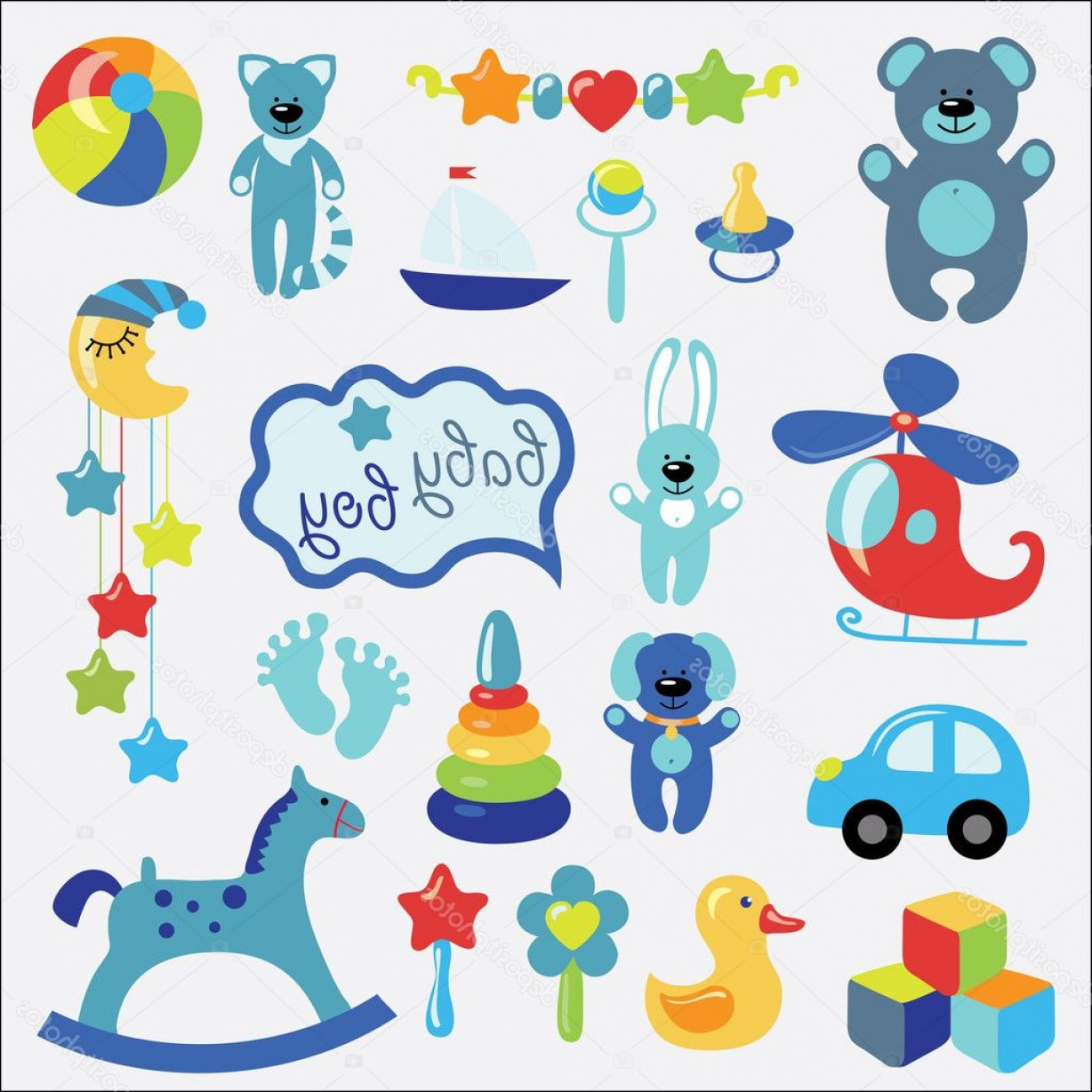 Baby Toy Vector: Stock Illustration Baby Toys Set Collection For