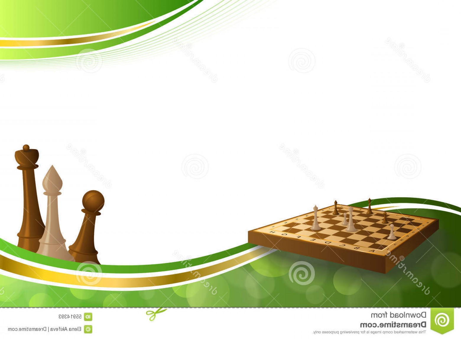 Chess Vector Background: Stock Illustration Background Abstract Green Gold Chess Game Brown Beige Board Figures Illustration Vector Image
