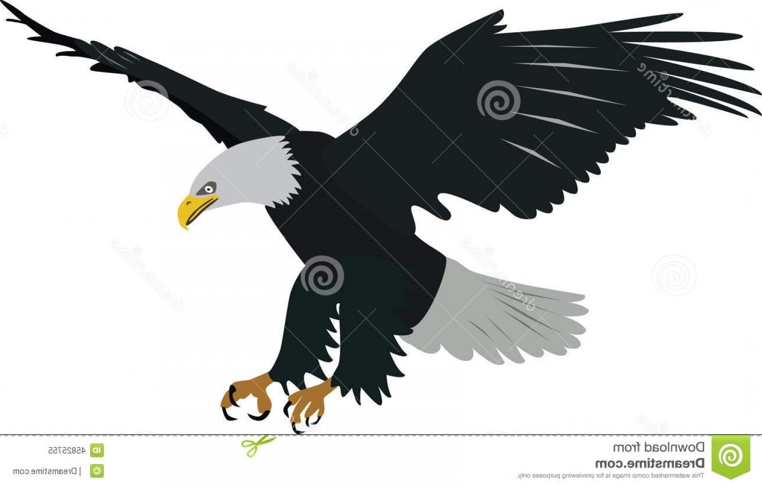 Patriotic Bald Eagle Vector: Stock Illustration Bald Eagle Vector Flying Preying Image