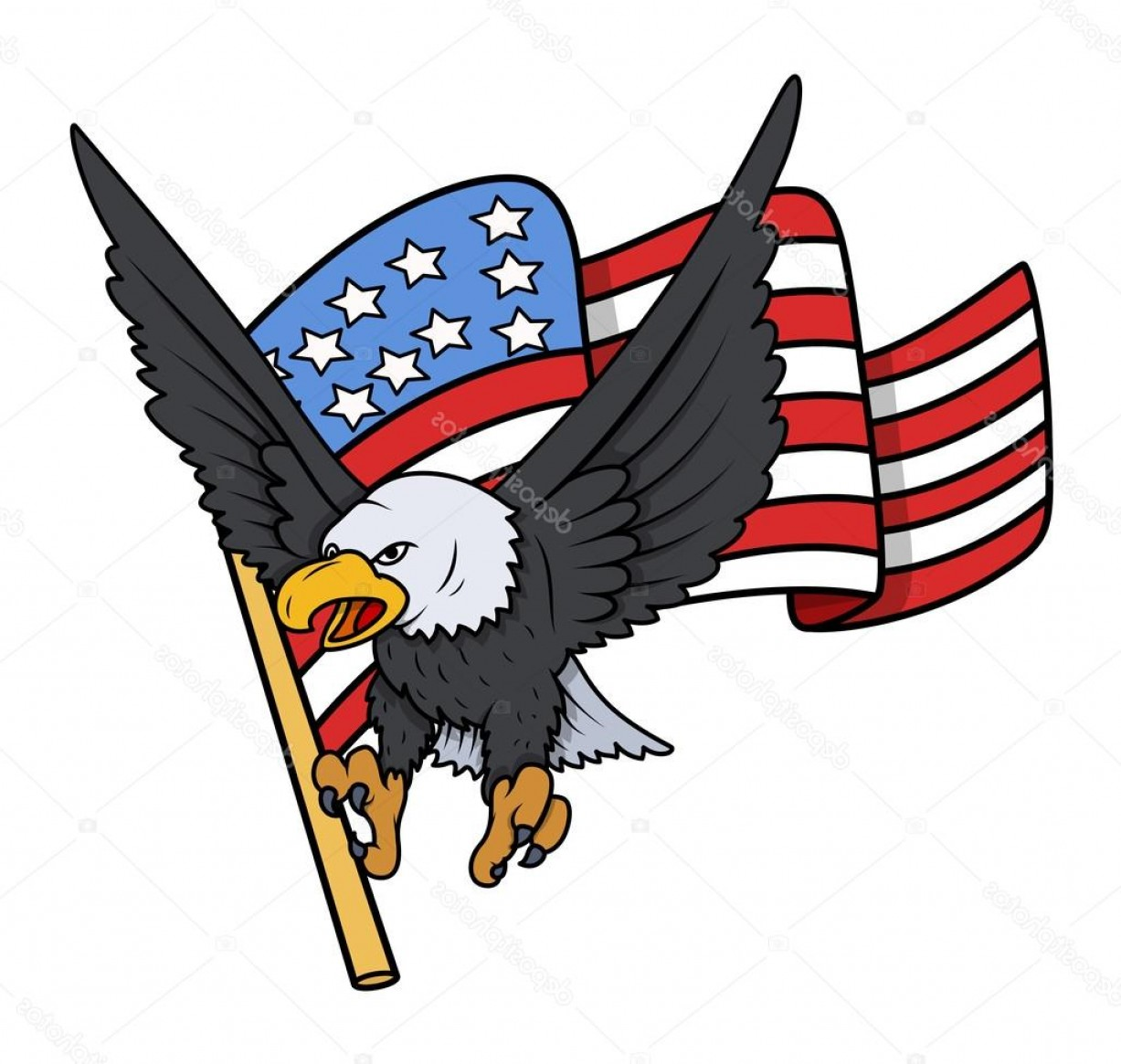 Patriotic Bald Eagle Vector: Stock Illustration Bald Eagle With American Flag
