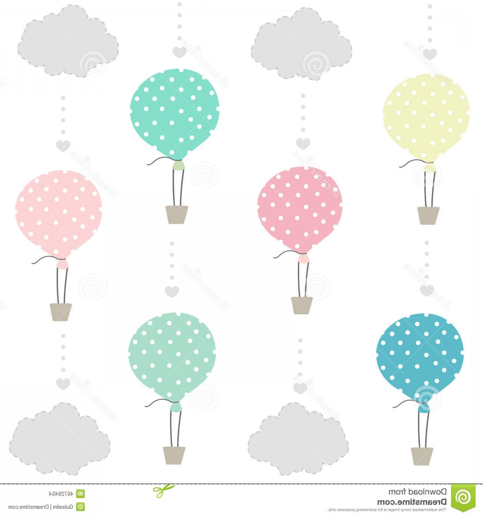 Balloons Vector Wallpaper: Stock Illustration Balloon Clouds Baby Pattern Wallpaper Background Vector Image