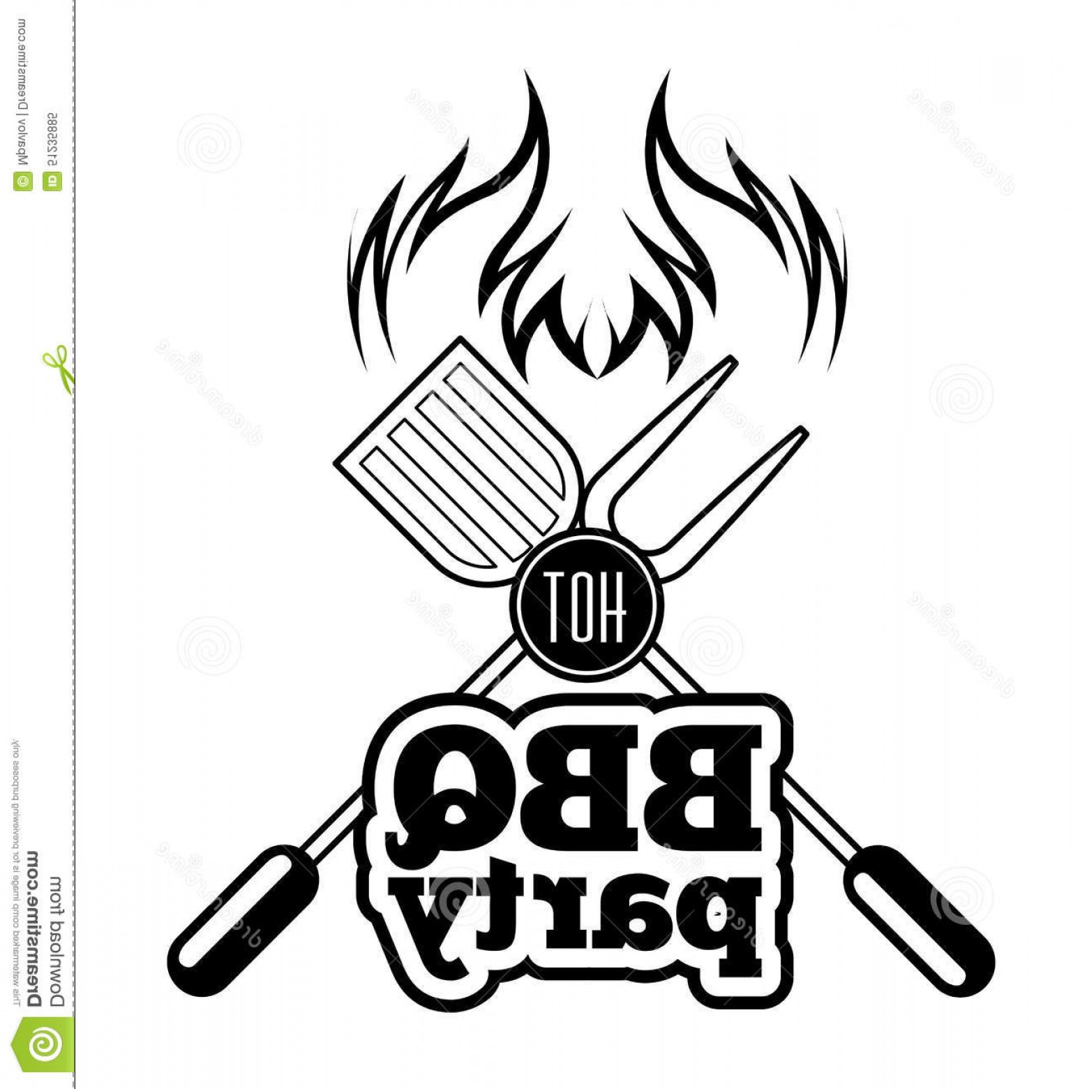BBQ Grill Vector Black And White: Stock Illustration Barbecue Grill Vector Illustration White Background Image