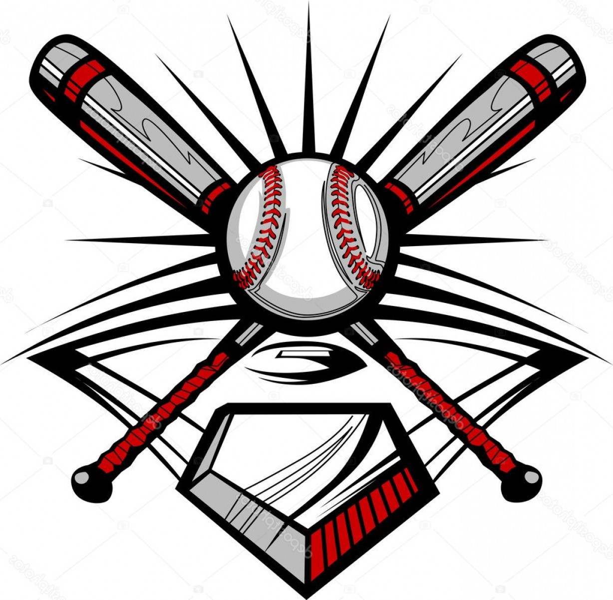 Vector Baseball Cross: Stock Illustration Baseball Or Softball Crossed Bats