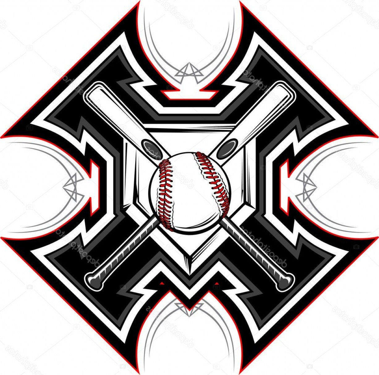 Vector Baseball Cross: Stock Illustration Baseball Softball Bats Graphic Vector