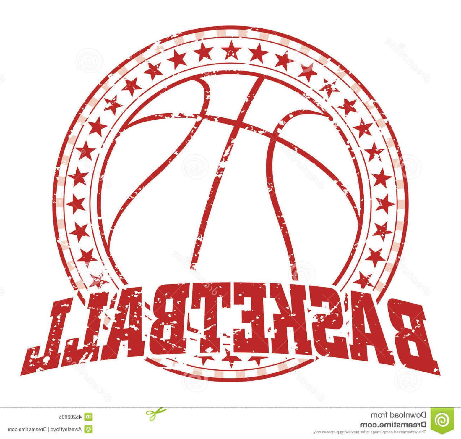 Vintage Basketball Vector: Stock Illustration Basketball Design Vintage Illustration Distressed Style Circle Stars Distressed Look Removable Image