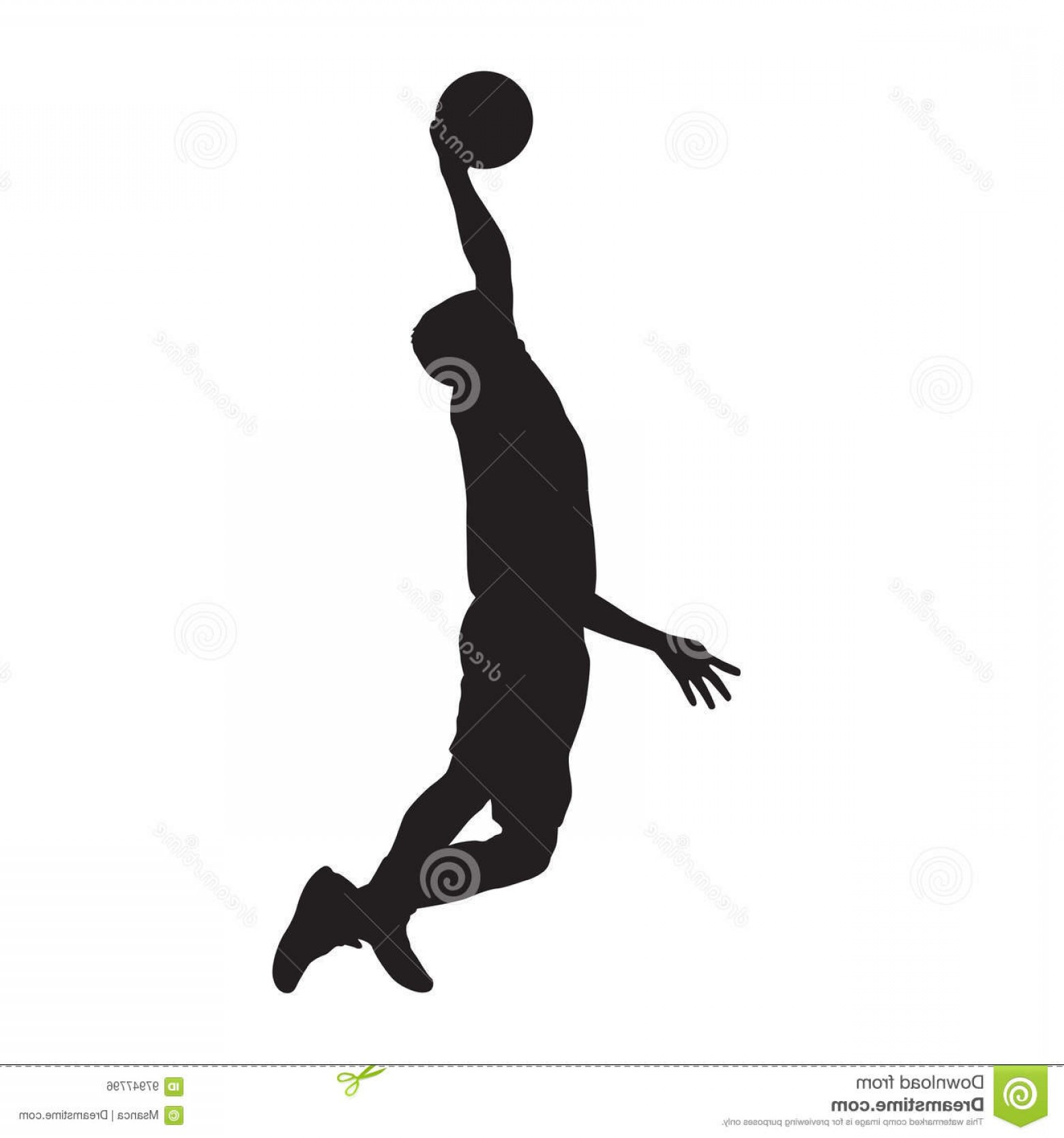 Dunking Basketball Silhouette Vector: Stock Illustration Basketball Player Dunking Vector Silhouette Isolated Image