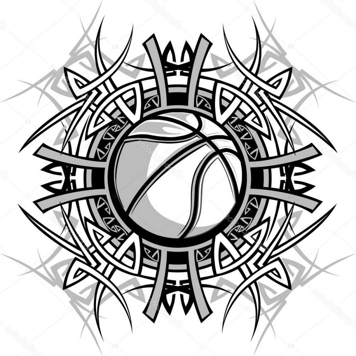 Basketball Vector Graphic Designs: Stock Illustration Basketball With Tribal Borders Vector