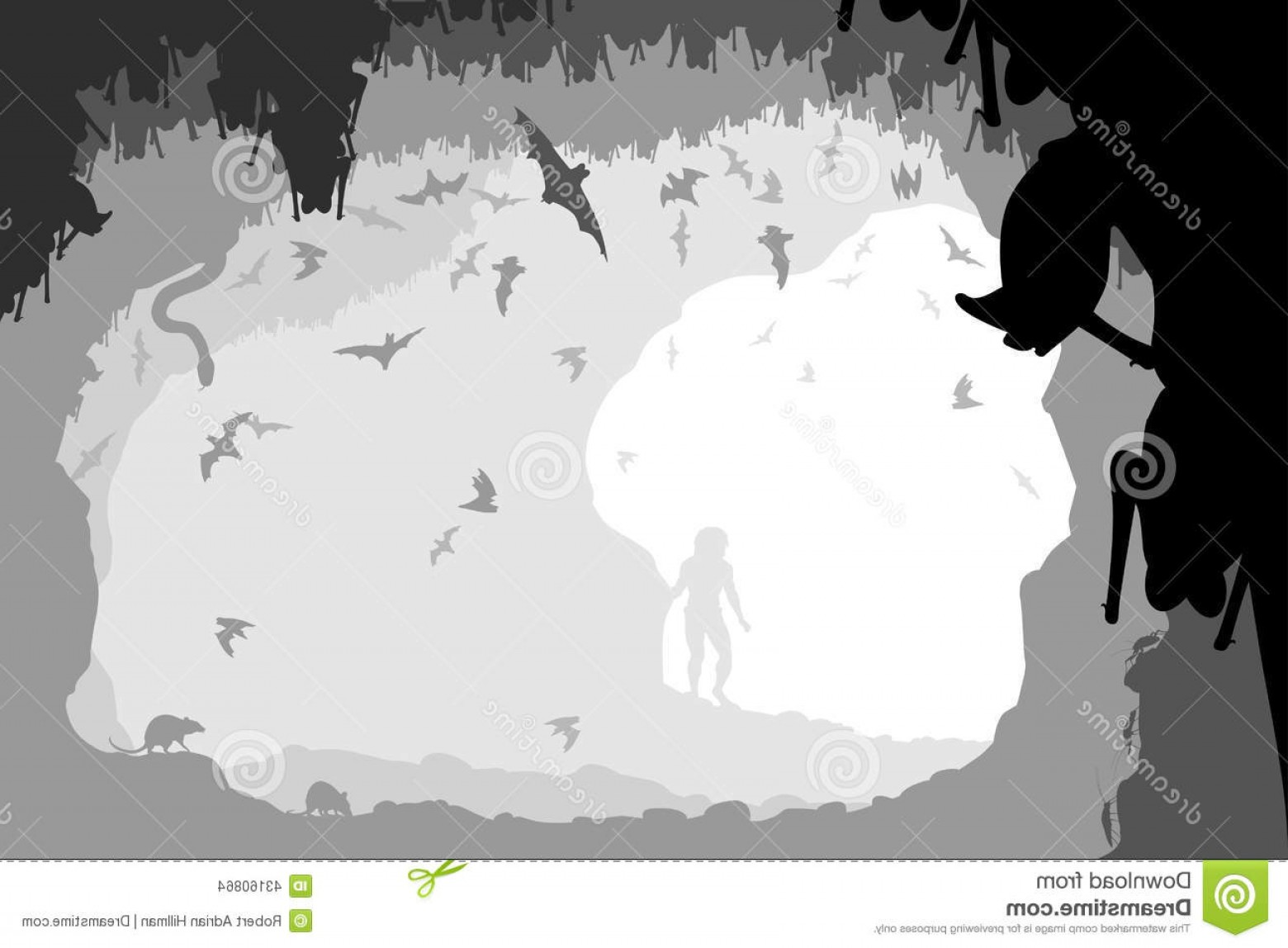 Cave Vector: Stock Illustration Bat Cave Editable Vector Illustration Man Mouth All Figures As Separate Objects Image